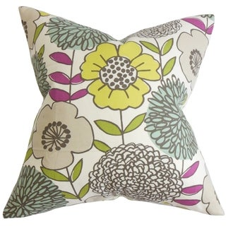 Veruca Floral Yellow Feather and Down Filled Throw Pillow