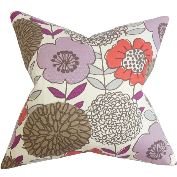 Veruca Floral Purple Feather and Down Filled Throw Pillow