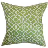 Kalmara Geometric Green Feather and Down Filled Throw Pillow