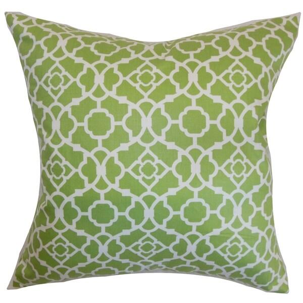 Kalmara Geometric Green Feather and Down Filled Throw Pillow