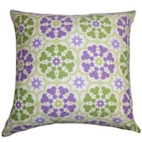 Eavan Floral Purple Green Feather and Down Filled  Throw Pillow
