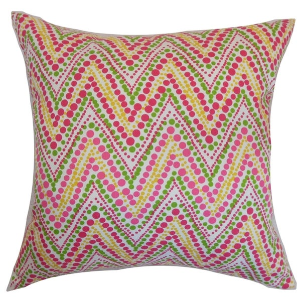 Maesot Zigzag Pink Green Feather and Down Filled Throw Pillow