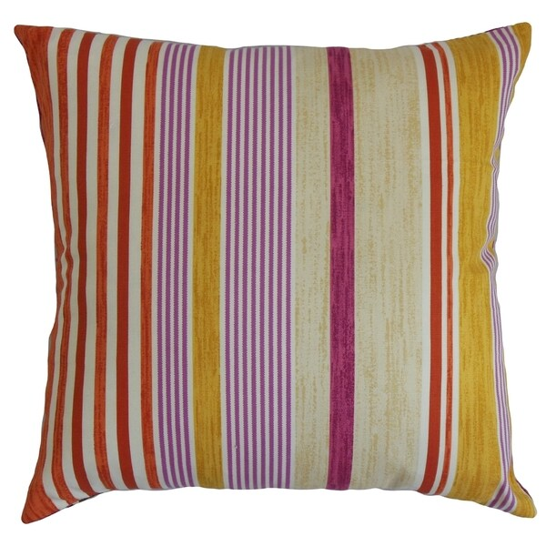 Usinsk Stripes Purple Neutral Feather and Down Filled Throw Pillow