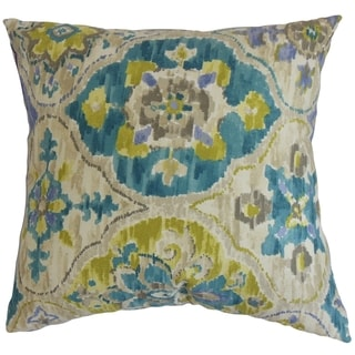 Vina Floral Sea Green Feather and Down Filled Throw Pillow