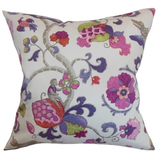 Majella Floral Purple Sage Feather and Down Filled Throw Pillow