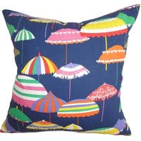 Yaffa Geometric Blue Feather and Down Filled Throw Pillow