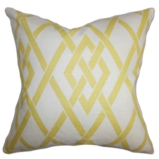 Abioye Geometric Yellow White Feather and Down Filled Throw Pillow