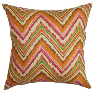 Dayana Zigzag Orange Pink Feather and Down Filled Throw Pillow