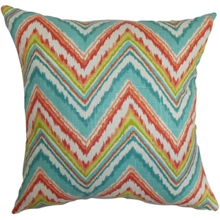 Dayana Zigzag Teal Red Feather and Down Filled Throw Pillow