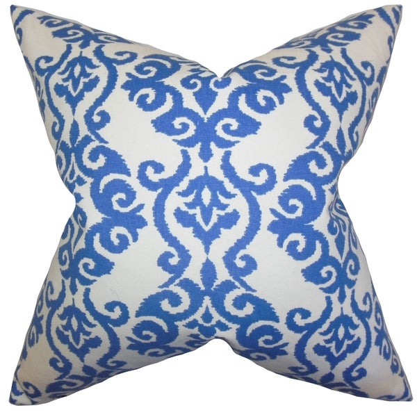 Blue Throw Pillows Overstock : Rafe Damask Blue Feather and Down Filled Throw Pillow - Free Shipping Today - Overstock.com ...