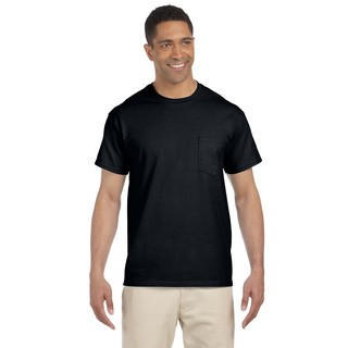 Gildan Men's Black Ultra Cotton Pocket Undershirts (Set of 6)