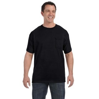 Hanes Men's Black Tagless Comfortsoft Pocket Undershirts (Set of 6)