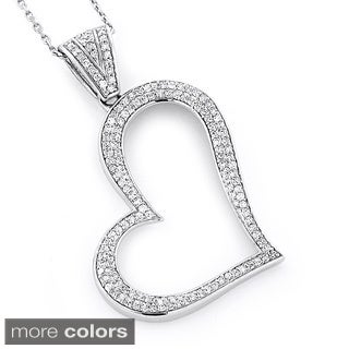Luxurman 14k Gold Round 5/8ct TDW Pave Diamond Heart Necklace (H-I, SI1-SI2)