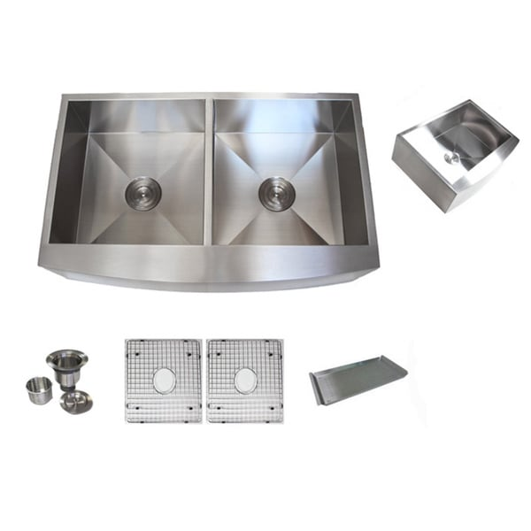 36-inch Stainless Steel Farmhouse Double Bowl Curve Apron Kitchen Sink Combo