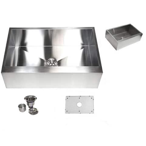 Stainless Steel Farmhouse Single Bowl Flat Apron Kitchen Sink