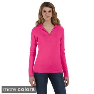 Women's Cotton/ Spandex Half-zip Hooded Pullover Sweater