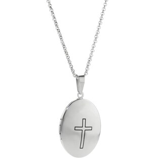 Stainless Steel Cross Accent Oval Locket Necklace