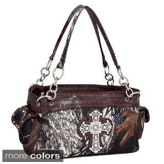 Mossy Oak Rhinestone Cross Wide Camouflage Shoulder Bag