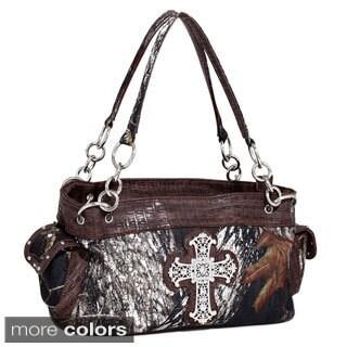 Mossy Oak Rhinestone Cross Wide Camouflage Shoulder Bag