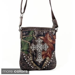 Mossy Oak Rhinestone Cross Studded Camouflage Messenger Bag