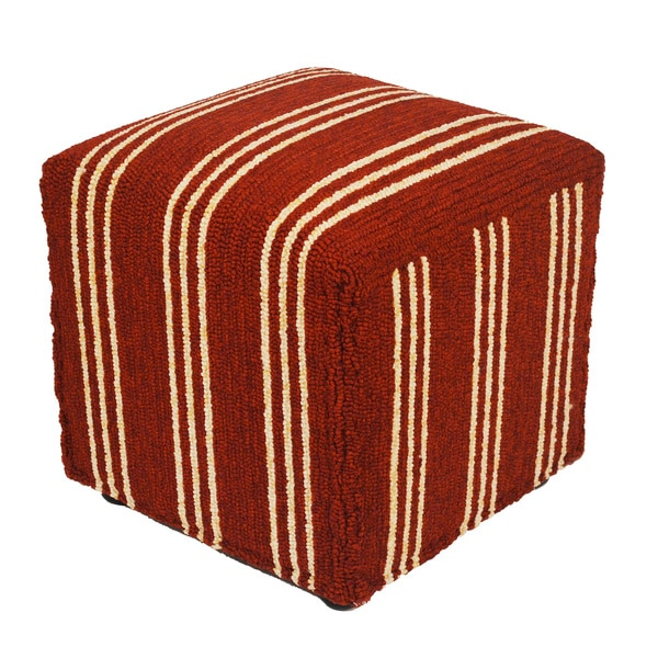 South Beach Indoor/Outdoor Red Stripes 18u0026quot; Ottoman - Free ...