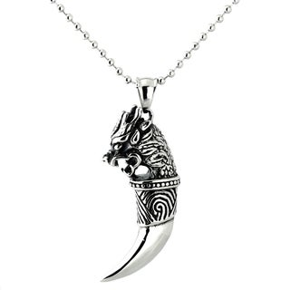 Black Over Stainless Steel Men's Dragon Head Necklace