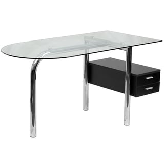 Chrome/ Glass 2-drawer Pedestal Computer Desk