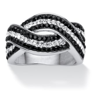 Pave Jet Black and White Crystal Twisting Crossover Ring Made with SWAROVSKI ELEMENTS Colo