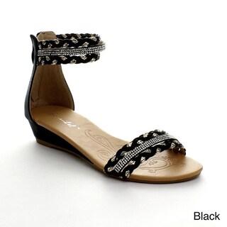 Bonnibel Felice-1 Women's Weave Strap Rhinestone Low Wedge Sandals