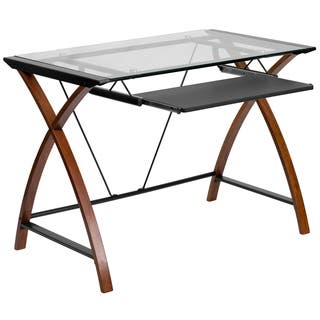 Porch Den Stonehurst Tanner Gl Computer Desk With Pull Out Keyboard Tray