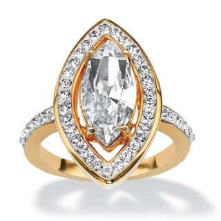 PalmBeach Marquise-Cut Crystal Ring Made with SWAROVSKI ELEMENTS in Yellow Gold Tone Color Fun