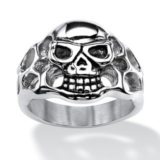 PalmBeach Men's Openwork Skull Ring in Antiqued Stainless Steel Sizes 9-16
