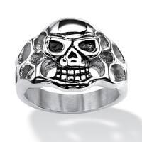 Men's Openwork Skull Ring in Antiqued Stainless Steel Sizes 9-16