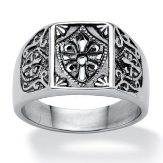 PalmBeach Men's Cross and Crest Signet Ring in Stainless Steel