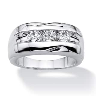 Men's .84 TCW Round Cubic Zirconia Ring in Platinum Plated Sizes 8-16|https://ak1.ostkcdn.com/images/products/9036474/Ultimate-Platinum-plated-Mens-4-5ct-TGW-Cubic-Zirconia-Ring-P16235160.jpg?impolicy=medium