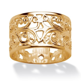 Ornate Scroll Design Band in 18k Gold over Sterling Silver Tailored