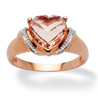 PalmBeach Heart-Cut Simulated Morganite Ring in Rose Gold over .925 Sterling Silver Color Fun