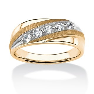 PalmBeach Men's .74 TCW Round Channel Set White Sapphire Ring in 14k Gold over Sterling Silver