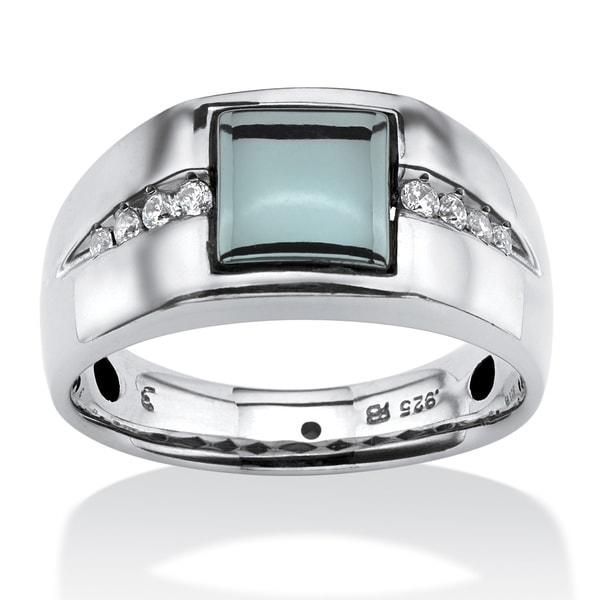 Mens 30 TCW Genuine Hematite and White Sapphire Ring in Platinum