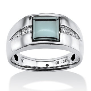 Men's .30 TCW Genuine Hematite and White Sapphire Ring in Platinum Over .925 Sterling Silv