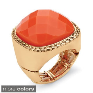 PalmBeach Tangerine or Teal Checkerboard-Cut Cabochon Stretch Ring in Yellow Gold Tone Bold Fashion