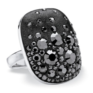 Jet Black Crystal Oval Ring Made with SWAROVSKI ELEMENTS in Silvertone Color Fun