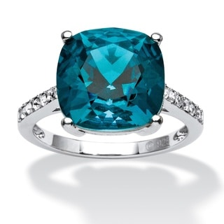 PalmBeach Cushion-Cut London Blue Crystal Ring MADE WITH SWAROVSKI ELEMENTS in Platinum over Sterling Silver Color Fun