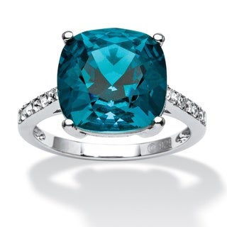 Cushion-Cut London Blue Crystal Ring MADE WITH SWAROVSKI ELEMENTS in Platinum over Sterlin