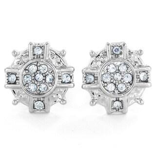 West Coast Jewelry Silvertone Micro Pave Crystal Starburst Stud Post Earrings