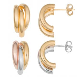 Fremada 18k Gold Over Sterling Silver Triple Half Hoop Earrings (yellow or tricolor)|https://ak1.ostkcdn.com/images/products/9036742/Fremada-18k-Gold-Over-Sterling-Silver-Triple-Half-Hoop-Earrings-yellow-or-tricolor-P16235387.jpg?impolicy=medium