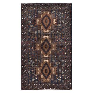 Herat Oriental Semi-antique Afghan Hand-knotted Tribal Balouchi Brown/ Navy Wool Rug (2'9 x 4'9)