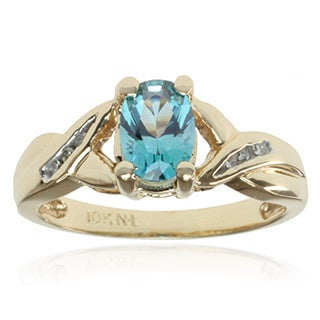 Michael Valitutti 10k Yellow Gold Teal Topaz and Diamond Accent Ring