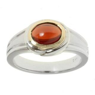 Michael Valitutti 14k Two-tone Gold Garnet Ring