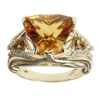 Michael Valitutti 14k Yellow Gold Citrine, Spessartite and 1/6ct TDW Diamond Ring (I-J, I1-I2)
